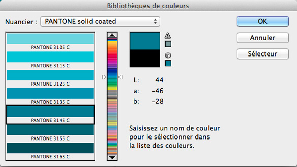 nuancier pantone indesign