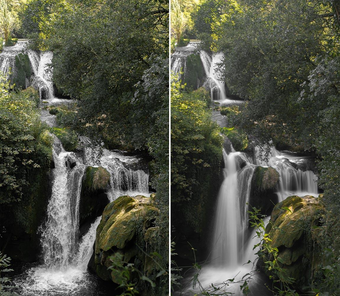 Photo d'exemple d'une cascade prise à différents temps de pause.